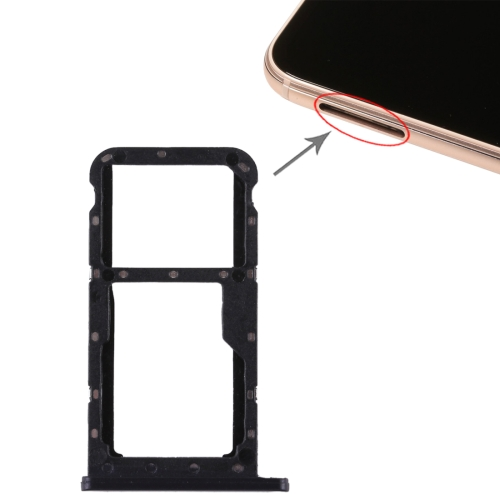 SIM Card Tray + SIM Card Tray / Micro SD Card for Huawei P20 Lite / Nova 3e (Black)