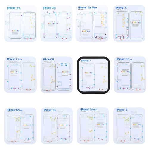 Magnetic Memory Screws Mat for iPhone XR & iPhone XS & iPhone XS Max & iPhone X & 8 & 8 Plus & 7 & 7 Plus & 6s Plus & 6s & 6 & 6 Plus , Size: 17.8cm x 15.9cm