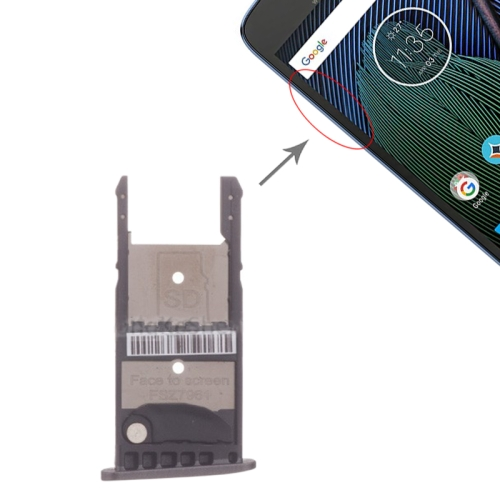 SIM Card Tray + Micro SD Card Tray for Motorola Moto G5 Plus (Black)
