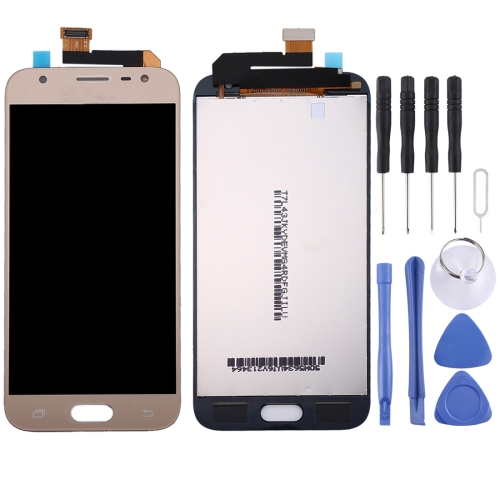 TFT Material LCD Screen and Digitizer Full Assembly for Galaxy J3 (2017) / J330(Gold)