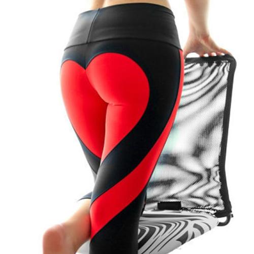 Women Fashion Leisure Ass Love Stitching Put Hip Elastic Waist Leggings High Waist Pants, Size: S(Black+Red)