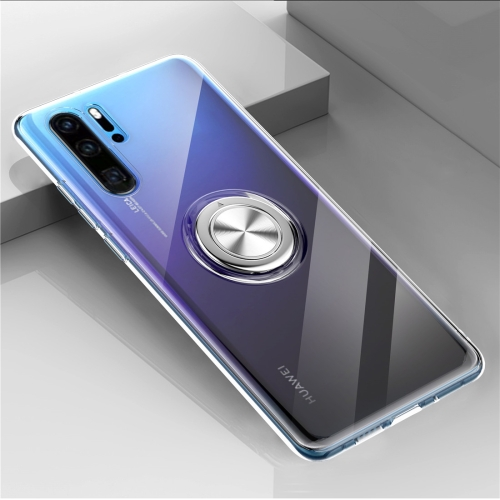 Ultra-thin TPU Protective Case for Huawei P30 Pro, with Metal Ring Holder(Transparent)