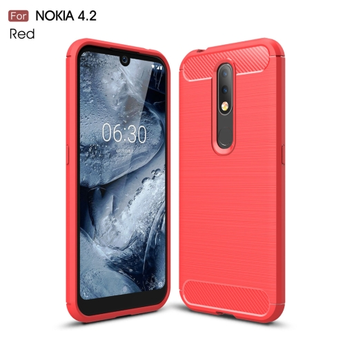 Brushed Texture Carbon Fiber TPU Case for Nokia 4.2(Red)