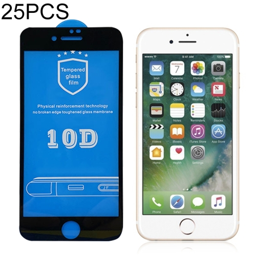 25 PCS 2.5D Full Glue Silk Print Tempered Glass Film for iPhone 7 & 8(Black)