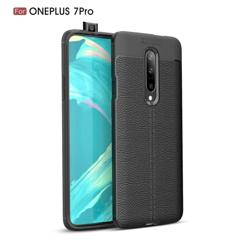 Litchi Texture TPU Shockproof Case for OnePlus 7 Pro(Black)