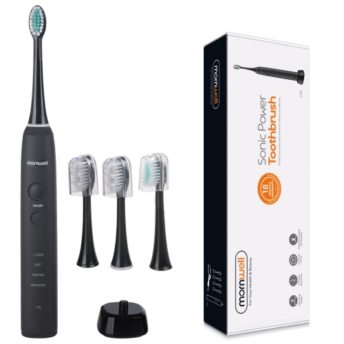 IPX7 Waterproof Rechargeable Adult Sonic Pulse Electric Toothbrush, US Plug(Black)