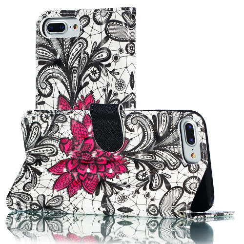3D Pattern Colored Drawing Horizontal Flip Leather Case for iPhone 8 Plus & 7 Plus & 6s Plus & 6 Plus , with Holder & Card Slots & Wallet & Lanyard(Lace Flower)