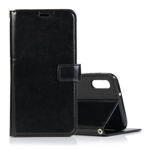 Crazy Horse Texture Horizontal Flip Leather Case with Holder & Card Slots & Wallet & Photo Frame for Galaxy A10(Black)