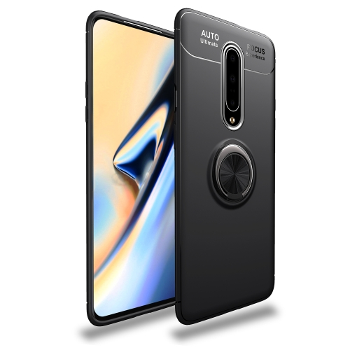 Metal Ring Holder 360 Degree Rotating TPU Case for   OnePlus 7 Pro (Black+Black)