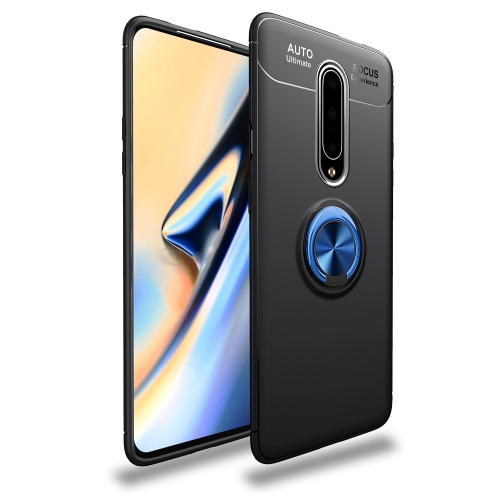 Metal Ring Holder 360 Degree Rotating TPU Case for   OnePlus 7 Pro (Black+Blue)