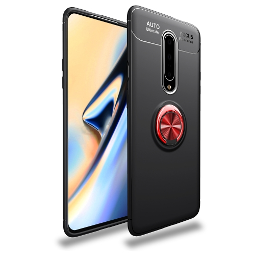 Metal Ring Holder 360 Degree Rotating TPU Case for OnePlus 7 Pro (Black+Red)
