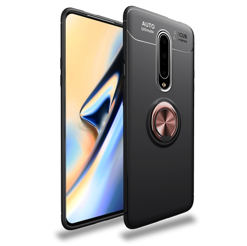 Metal Ring Holder 360 Degree Rotating TPU Case for  OnePlus 7 Pro (Black+Rose Gold)