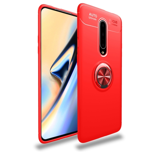 Metal Ring Holder 360 Degree Rotating TPU Case for  OnePlus 7 Pro (Red+Red)