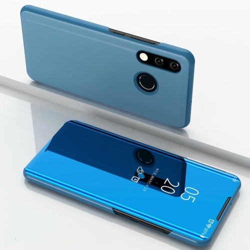 Electroplating Mirror Horizontal Flip Leather Case for Huawei P30 Lite / Nova 4e, with Holder(Sky Blue)