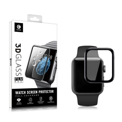 2 PCS mocolo 0.33mm 9H 3D Round Edge Tempered Glass Film for for Apple Watch Series 4 44mm