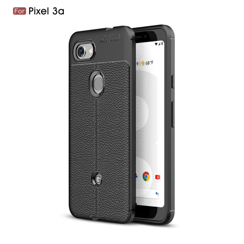 Litchi Texture TPU Shockproof Case for Google Pixel 3a(Black)