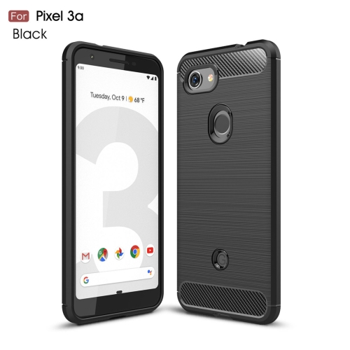 Brushed Texture Carbon Fiber TPU Case for Google Pixel 3a(Black)