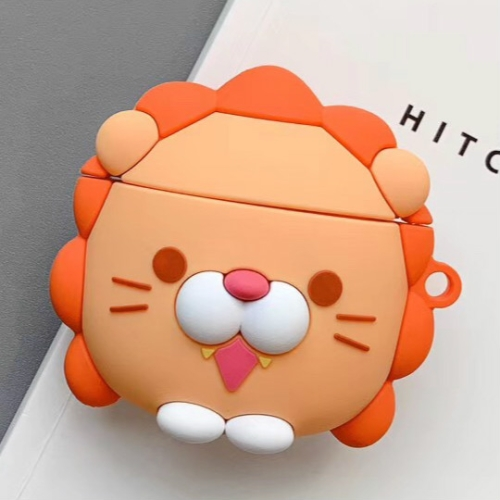 For Apple AirPods 1/2 Generation Universal Wireless Lion And Dinosaur Headphone Holder Bluetooth Protective Case(Orange)