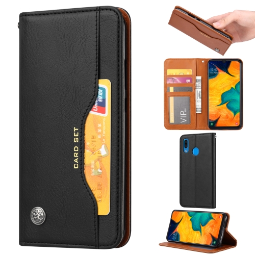 Knead Skin Texture Horizontal Flip Leather Case for Samsung Galaxy A40, with Photo Frame & Holder & Card Slots & Wallet(Black)