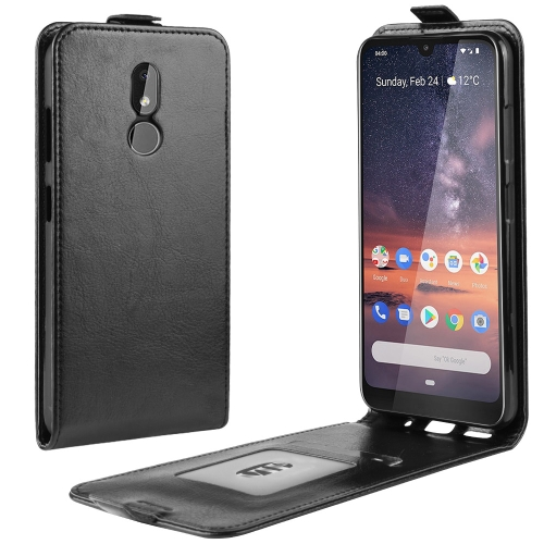 Crazy Horse Texture Vertical Flip Leather Case for Nokia 3.2, with Card Slot & Photo Frame(black)