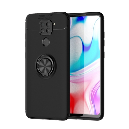For Xiaomi Redmi Note 9 / Redmi 10X   Metal Ring Holder 360 Degree Rotating TPU Case(Black+Black)