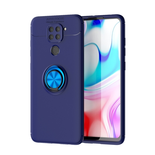 For Xiaomi Redmi Note 9 / Redmi 10X   Metal Ring Holder 360 Degree Rotating TPU Case(Blue+Blue)