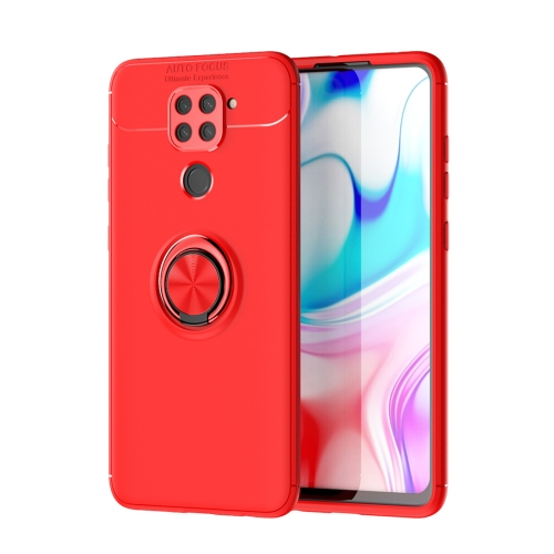 For Xiaomi Redmi Note 9 / Redmi 10X   Metal Ring Holder 360 Degree Rotating TPU Case(Red+Red)