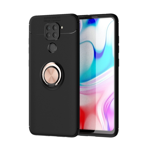 For Xiaomi Redmi Note 9 / Redmi 10X   Metal Ring Holder 360 Degree Rotating TPU Case(Black+Rose Gold)