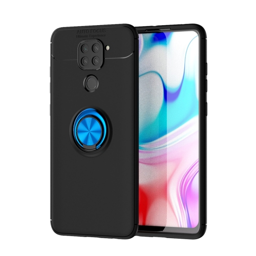 For Xiaomi Redmi Note 9 / Redmi 10X   Metal Ring Holder 360 Degree Rotating TPU Case(Black+Blue)