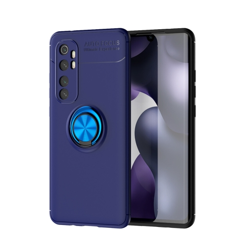 For Xiaomi Mi Note 10 lite   Metal Ring Holder 360 Degree Rotating TPU Case(Blue+Blue)