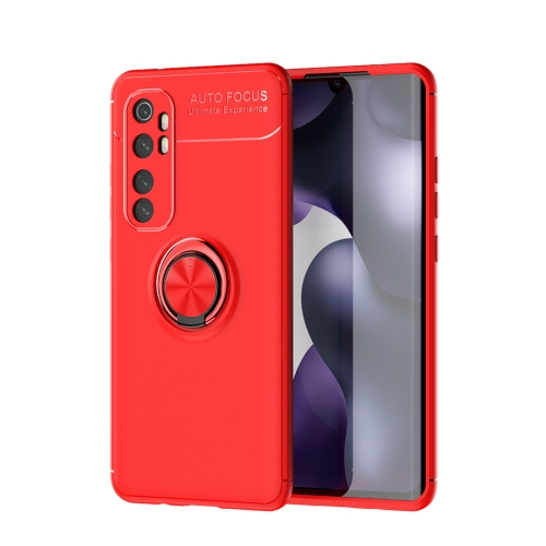 For Xiaomi Mi Note 10 lite   Metal Ring Holder 360 Degree Rotating TPU Case(Red+Red)
