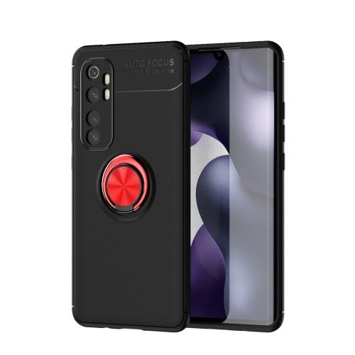 For Xiaomi Mi Note 10 lite   Metal Ring Holder 360 Degree Rotating TPU Case(Black+Red)