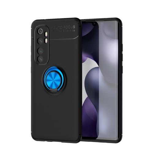 For Xiaomi Mi Note 10 lite   Metal Ring Holder 360 Degree Rotating TPU Case(Black+Blue)