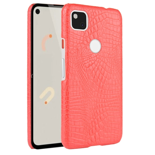For Google Pixel 4a Shockproof Crocodile Texture PC + PU Case(Red)