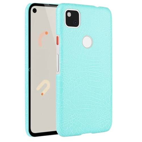 For Google Pixel 4a Shockproof Crocodile Texture PC + PU Case(Light green)
