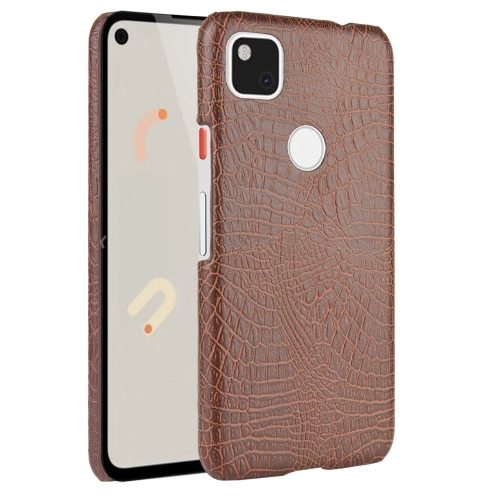 For Google Pixel 4a Shockproof Crocodile Texture PC + PU Case(Brown)