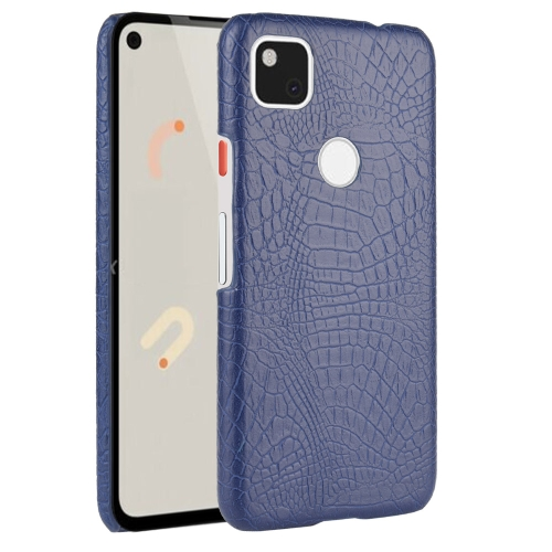 For Google Pixel 4a Shockproof Crocodile Texture PC + PU Case(Blue)