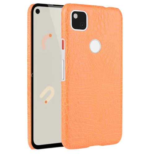 For Google Pixel 4a Shockproof Crocodile Texture PC + PU Case(Orange)