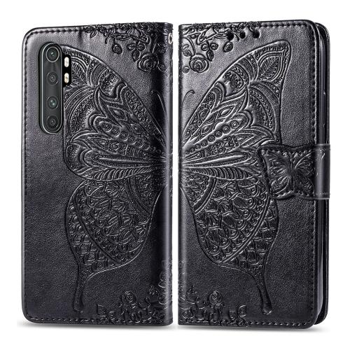 For Xiaomi Mi Note 10 Lite Butterfly Love Flower Embossed Horizontal Flip Leather Case with Bracket / Card Slot / Wallet / Lanyard(Black)