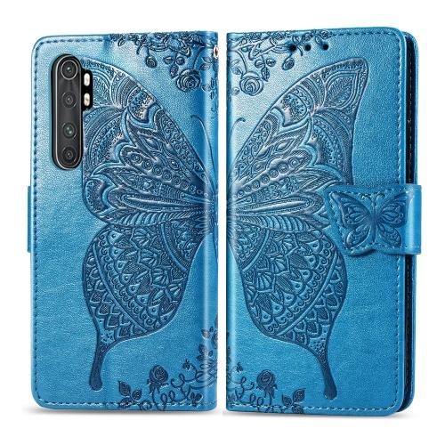 For Xiaomi Mi Note 10 Lite Butterfly Love Flower Embossed Horizontal Flip Leather Case with Bracket / Card Slot / Wallet / Lanyard(Blue)