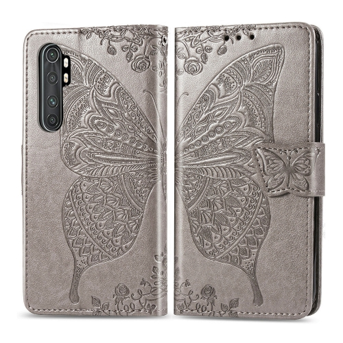 For Xiaomi Mi Note 10 Lite Butterfly Love Flower Embossed Horizontal Flip Leather Case with Bracket / Card Slot / Wallet / Lanyard(Gray)
