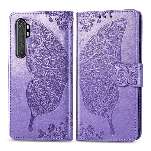 For Xiaomi Mi Note 10 Lite Butterfly Love Flower Embossed Horizontal Flip Leather Case with Bracket / Card Slot / Wallet / Lanyard(Light Purple)