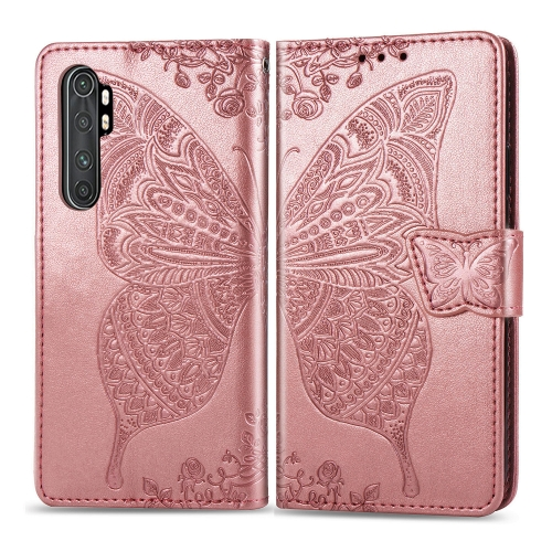 For Xiaomi Mi Note 10 Lite Butterfly Love Flower Embossed Horizontal Flip Leather Case with Bracket / Card Slot / Wallet / Lanyard(Rose Gold)