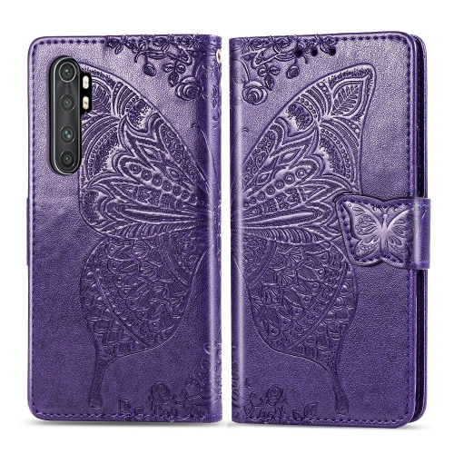 For Xiaomi Mi Note 10 Lite Butterfly Love Flower Embossed Horizontal Flip Leather Case with Bracket / Card Slot / Wallet / Lanyard(Dark Purple)