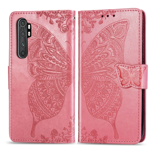 For Xiaomi Mi Note 10 Lite Butterfly Love Flower Embossed Horizontal Flip Leather Case with Bracket / Card Slot / Wallet / Lanyard(Pink)