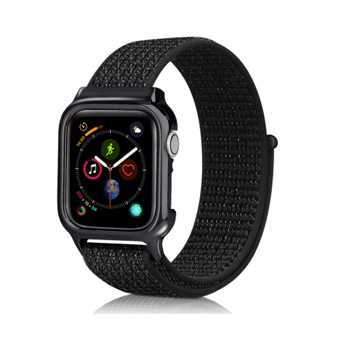 Simple Fashion Nylon Watch Strap with Frame for Apple Watch Series 4 44mm (Reflrctive Black)