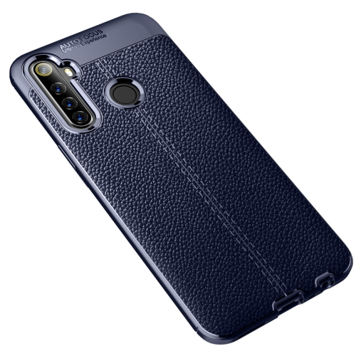 For Realme 6i   Litchi Texture TPU Shockproof Case(Navy Blue)
