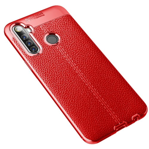 For Realme 6i   Litchi Texture TPU Shockproof Case(Red)