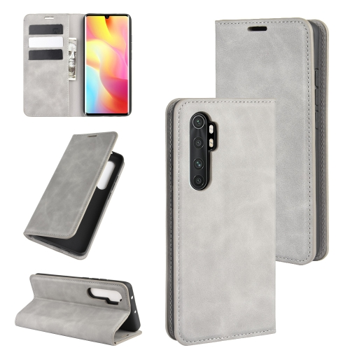 For Xiaomi Mi Note 10 Lite Retro-skin Business Magnetic Suction Leather Case with Holder & Card Slots & Wallet(Grey) фото