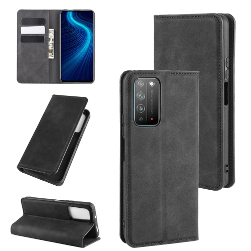For Honor X10 5G   Retro-skin Business Magnetic Suction Leather Case with Holder & Card Slots & Wallet(Black)